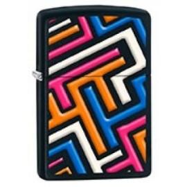 Zippo Noir - Formes abstraites colorées