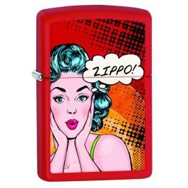 Zippo rouge mat - Femme surprise