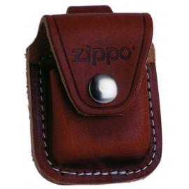Etui briquet Zippo en cuir marron - attache cuir