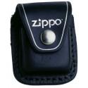 Etui briquet Zippo en cuir noir - attache en métal